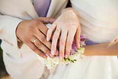 Just Married. Wedding photograph of a young couple of lovers who are just married, are close to each other in harmony, love and happiness Stock Photo