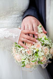 Just Married. Wedding photograph of a young couple of lovers who are just married, are close to each other in harmony, love and happiness Royalty Free Stock Photo