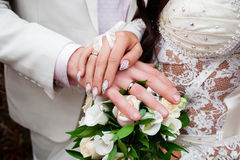 Just Married. Wedding photograph of a young couple of lovers who are just married, are close to each other in harmony, love and happiness Stock Image
