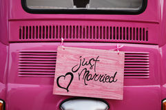 Just married. Wedding sign for car or decoration royalty free stock photography