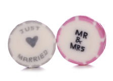 Just married wedding sweets Stock Photos