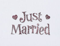 Just Married. Just married on white art board with room for your type royalty free stock images