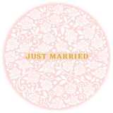 Just Married. white roses in circle. Royalty Free Stock Photography