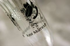Just married wine glass with design top hat. Just married wine glass with top hat desin in black royalty free stock photos