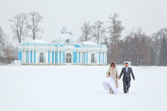 Just married in winter season Royalty Free Stock Photography