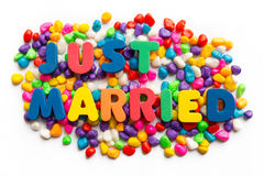 Just married word in colorful stone Royalty Free Stock Photography
