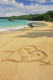 Just married written in sand Stock Image