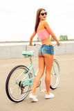 Just me and my bicycle. Stock Images