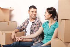 Just moved in a new apartment. Royalty Free Stock Photography