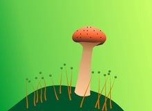Just a mushroom. Illustration of a mushroom with a green background and little illustrations of grass and green dots on it Stock Image
