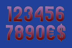 Just neat numbers with currency signs of dollar and euro. Gradient symbols with golden edging.  vector illustration