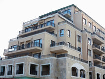 Just new builded luxury apartament house, windows and balcony Royalty Free Stock Images