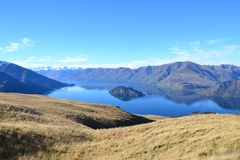 Pristine outdoor landscape around lake wanaka royalty free stock photos