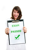 Just Passed. Happy physician student just passed difficult examination Royalty Free Stock Photography
