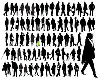 Just people. Big set of silhouette, ordinary people in move Stock Photography