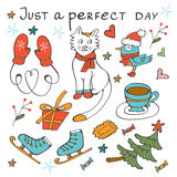 Just a perfect day concept card with winter related graphics Stock Photos