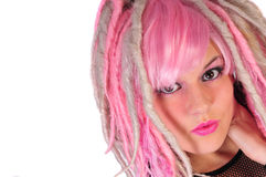 Just Punk. Pink hair punk girl in modern fashion stock photography