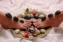 Just Relax. Mother and daughter having spa treatment (pedicured feet Stock Image