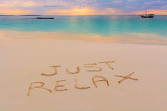 Just relax sign. In Nungwi north of Zanzibar island.Tanzania Stock Photos