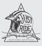 Just ride helmet with handle bar and muffler, t shirt print Royalty Free Stock Images