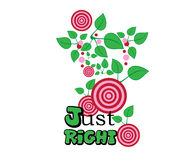 Just Right Typography Slogan Cherries Graphic Pink Green Red Stock Image