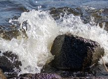 Just a rock in the water... Just a rock in the water. at the waterside of a little lake in Holland. the wind is blowing hard and pushes the water against the stock photo
