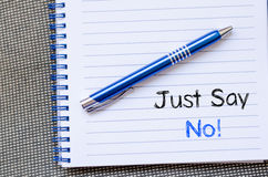 Just say no text concept on notebook Stock Images