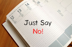 Just say no text concept on notebook Stock Photos