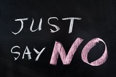 Just say NO. Words written on blackboard Royalty Free Stock Photos
