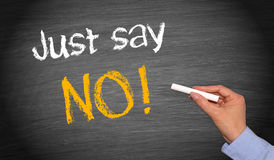 Just say no. Written in chalk on blackboard with female hand holding piece of chalk Royalty Free Stock Image