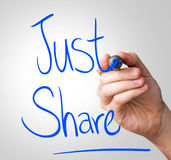Just share hand writing with a blue mark on a transparent board Royalty Free Stock Image