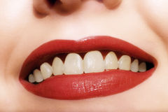 Just Smile. Close-up of a woman's glamorous smiling lips. I will be very happy if you let me know when you use this image in your project Stock Photography
