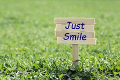 Just smile. Wooden sign in grass,blur background Royalty Free Stock Images