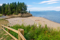 Just some beach at the side of the road. Somewhere on the road between Gaspe and Perce Quebec, Canada stock photo