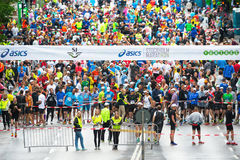 Just before the start in the ASICS Stockholm Marathon 2014 Stock Photo