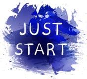 JUST START. Motivational phrase on blue paint splash background. Hand written white letters. stock illustration