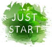 JUST START. Motivational phrase on green paint splash background. Hand written white letters. VECTOR illustration Stock Photos