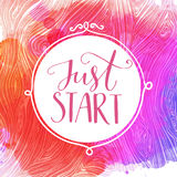 Just start. Motivational quote, hand lettering quote on pink and purple watercolor background royalty free illustration