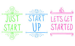 `Just start`, `start up`, `let`s get started`. Motivational phrases with hand drawn elements. VECTOR illustration. Green. `Just start`, `start up`, `let`s get stock illustration
