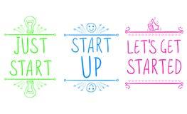 `Just start`, `start up`, `let`s get started`. Motivational phrases with hand drawn elements. VECTOR illustration. Green stock illustration