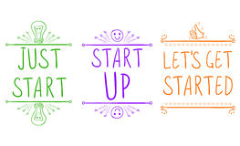 `Just start`, `start up`, `let`s get started`. Motivational phrases with hand drawn elements. VECTOR illustration. Green vector illustration