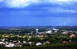 Storm clouds above a small town Stock Photography