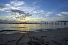 Just after sunrise, and already there is evidence of water/beach activities. View from Coronado Island into San Diego, California royalty free stock photo