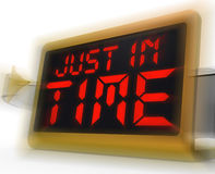 Just in Time Digital Clock Means Not Too Late Royalty Free Stock Photo