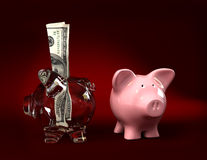 Just and transparent piggy bank Stock Photo