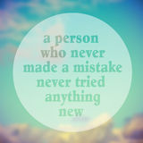 Just Try Something New,Quote Typographical Poster By Albert Eins Royalty Free Stock Photos