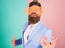 Just want to have fun. Man with beard and mustache wear funny eyeglasses. Fun and relax. Businessman fed up being. Serious. Enjoy being yourself. Sincere and stock images