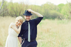 Just wedded couple dressed in retro Royalty Free Stock Photos