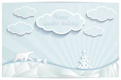 Just winter greeting card with polar bears family Stock Illustration