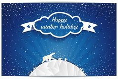 Just winter greeting card with polar bears family Royalty Free Stock Image